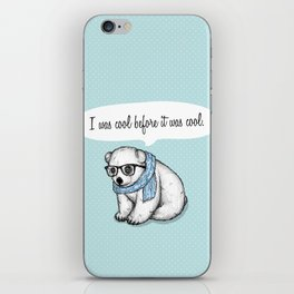 Hipster polarbear iPhone Skin