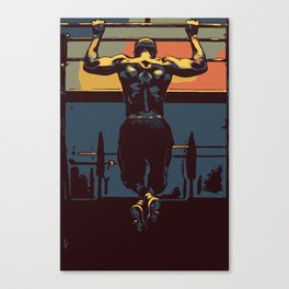 Pull ups at the gym - crossfit Canvas Print