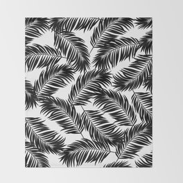 Palm Frond Tropical Décor Leaf Pattern Black on White Throw Blanket