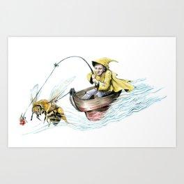 Bee Boating Art Print
