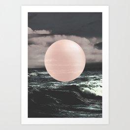 Marble Moon waves Art Print