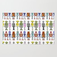 robots Area & Throw Rugs featuring Robots by Annabelle Scott
