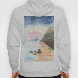 Pink Moon Watercolor Illustration Hoody
