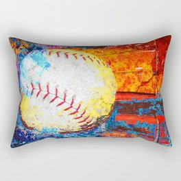 Colorful Baseball Art Rectangular Pillow