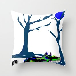 """""""Wolfdog"""" Paulette Lust Original, Contemporary, Whimsical, Colorful Art Throw Pillow"""