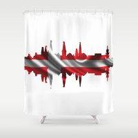 copenhagen Shower Curtains featuring Copenhagen city silhouette by South43