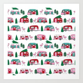 Camper vacation christmas road trip tropical home away from home pattern Art Print