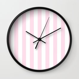 Simple Pink and White stripes, vertical Wall Clock