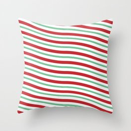 Red White and Green Christmas Candy Cane Pattern Throw Pillow