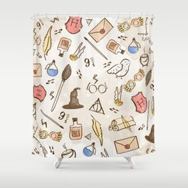 Wizarding Pattern Shower Curtain