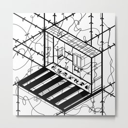 Abstract Sci-Fi Circuit Design - Minimalist Art Metal Print
