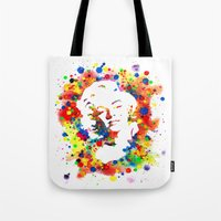 marylin monroe Tote Bags featuring Marylin Monroe by Psyca
