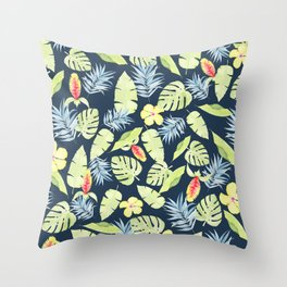 Tropical Leaves with Bromeliad and Hibiscus on Navy Throw Pillow