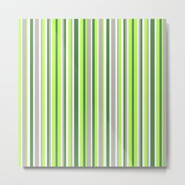 Green and Grey Stripes Metal Print