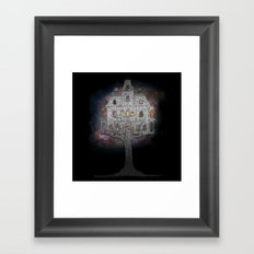 Cosmos Tree House B/W Framed Art Print