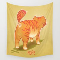 nope Wall Tapestries featuring Nope. by Tilune Chacon