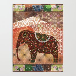 Digital illustration of an Elephant . Poster