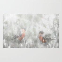 Bullfinch Birds Sitt On The Fence In Grey Winter Day Xmas #decor #society6 Rug