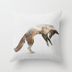 Jumping Fox Throw Pillow