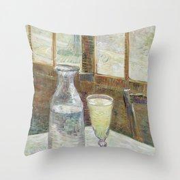 Café table with absinth Throw Pillow