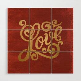Love Script Red Wood Wall Art