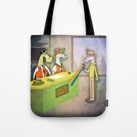hologram Tote Bags featuring Rainbow Hologram Unicorn by That's So Unicorny