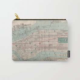 New York City, Manhattan, Vintage Map Carry-All Pouch