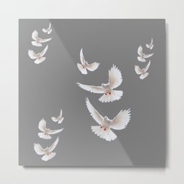 WHITE PEACE DOVES ON GREY COLOR DESIGN ART Metal Print