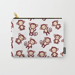 pattern with funny brown monkey boys and girls on white background. Vector illustration Carry-All Pouch
