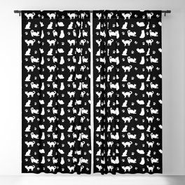 White Cats and Paw Prints Pattern on Black Blackout Curtain