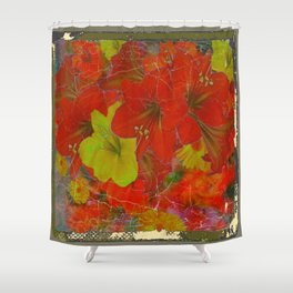 GRUNGY ANTIQUE RED FLORAL STILL LIFE BOUQUET Shower Curtain