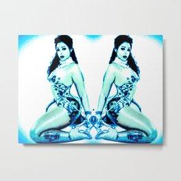 Pinup Gemini BLUE Metal Print