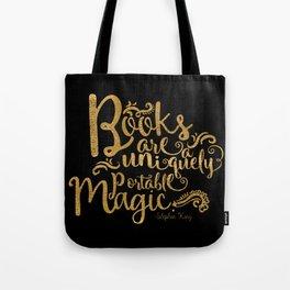 Books are a Uniquely Portable Magic Gold Tote Bag