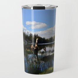mosquito lake in vertical stripes Travel Mug