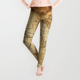 Vintage Map of the World 1733 Leggings