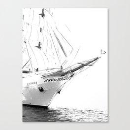 Black and White Sailboat Canvas Print