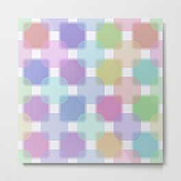 Cute Colorful Pastel Colors Retro Round Squares Pattern Metal Print