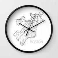 boston Wall Clocks featuring Boston by linnydrez