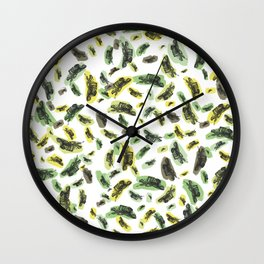 Coloured Falling Feathers Wall Clock