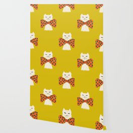 Cat with incredebly oversized humongous bowtie Wallpaper