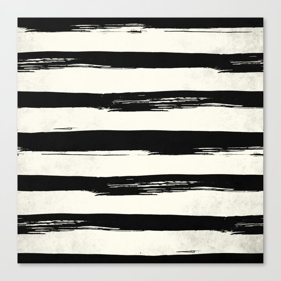 Tribal Paint Stripes Black and Cream Canvas Print