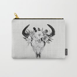 Monochrome Floral bohemian black and white watercolor animal stag head skull boho home wall decor Carry-All Pouch