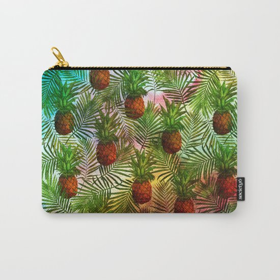 Pineapples - Tropical fruit watercolor illustration pattern Carry-All Pouch