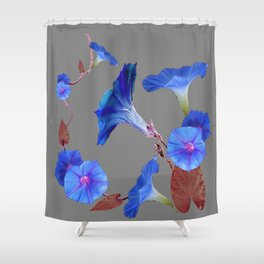 Grey Color Blue Morning Glory Art Design Pattern Shower Curtain