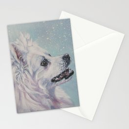 American Eskimo Dog portrait Fine Art Dog Painting by L.A.Shepard Stationery Cards