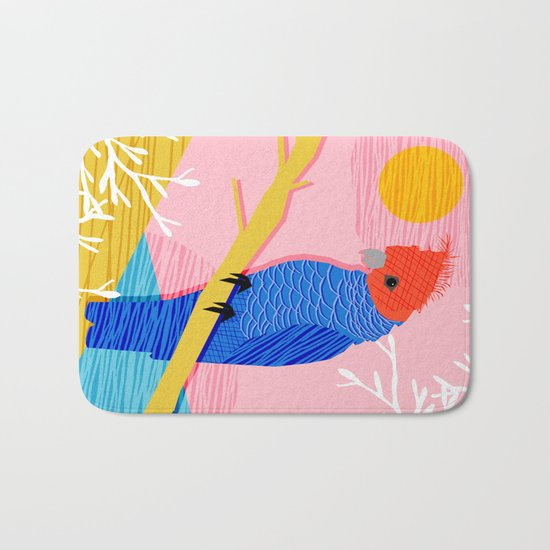 Blazin - memphis throwback tropical bird art parrot cockatoo nature neon 1980s 80s style retro cool Bath Mat