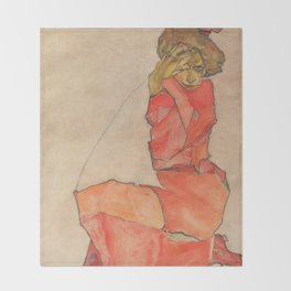 Egon Schiele - Kneeling Female in Orange-Red Dress Throw Blanket