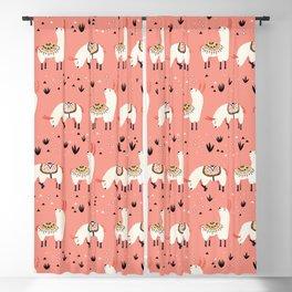 White Llamas in a pink desert Blackout Curtain