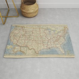 Old and Vintage Map of every States of The United States Of America Rug