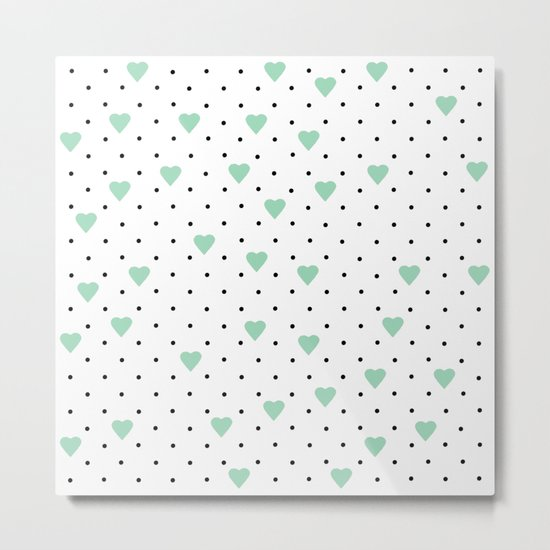 Pin Point Hearts Mint Metal Print